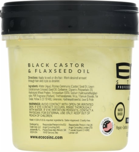 ECO Style Black Castor & Flaxseed Oil Professional Styling Gel Perspective: left