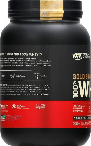 Optimum Nutrition Double Rich Chocolate 100% Whey Protein Isolate Powder Drink Mix Perspective: left
