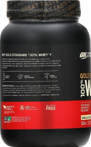 Optimum Nutrition Gold Standard 100% Whey Vanilla Ice Cream Protein Powder Perspective: left