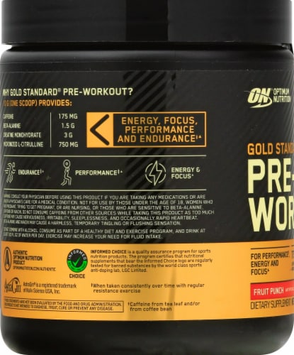 Optimum Nutrition Fruit Punch Gold Standard Pre-Workout Dietary Supplement Perspective: left