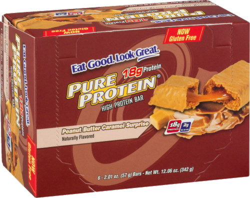 Pure Protein Peanut Butter Caramel Surprise Bars Perspective: left