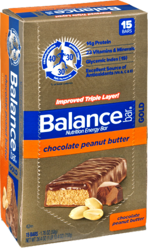 Balance Bar Gold Chocolate Peanut Butter Bars Perspective: left