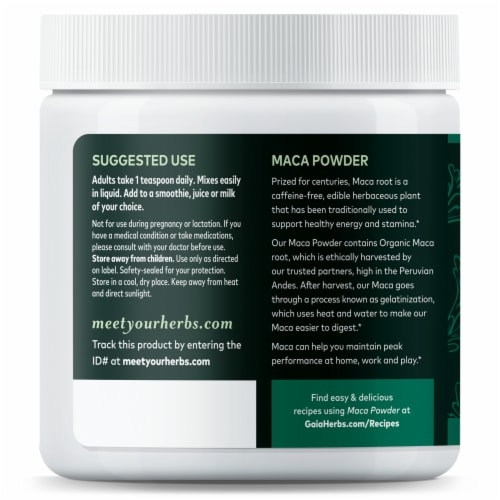 Gaia Herbs Maca Powder Perspective: left
