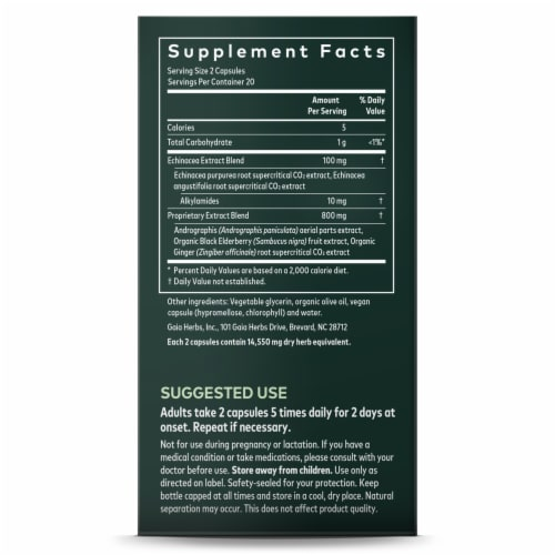 Gaia® Herbs Quick Defense® Herbal Supplement Perspective: left