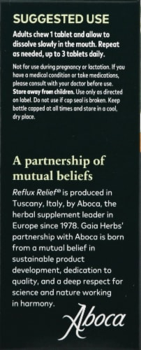 Gaia Herbs Reflux Relief Double Strength Formula Tablet Bottles Perspective: left