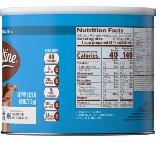 Ovaltine® Rich Chocolate Flavored Milk Mix Perspective: left