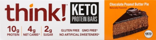 think! Chocolate Peanut Butter Pie Keto Protein Bars Perspective: left