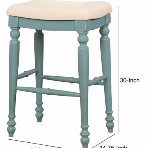 Saltoro Sherpi Saddle Top Wooden Bar Stool with Fabric Upholstery, Blue and Beige Perspective: left