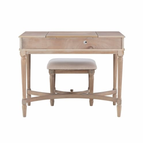 Linon Cyndi Wood Vanity Set in Gray Wash Perspective: left