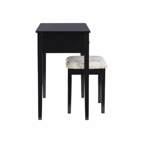 Linon Butterfly Wood Vanity and Stool in Black Perspective: left