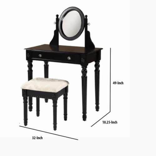 Saltoro Sherpi Wooden Vanity Set with Adjustable Mirror and Drawer, Black and Beige Perspective: left