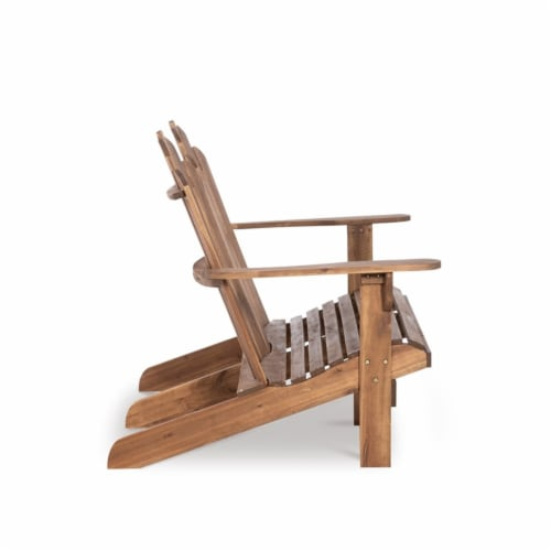 Linon Adirondack Wood Outdoor Double Bench in Acorn Brown Perspective: left