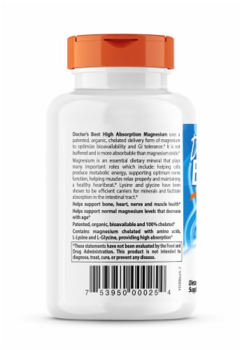 Doctor's Best High Absorption 100% Chelated Magnesium Tablets 100mg Perspective: left