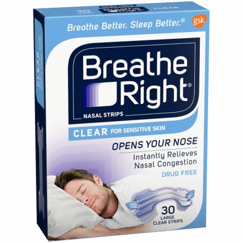 Breathe Right Large Clear Nasal Strips Perspective: left