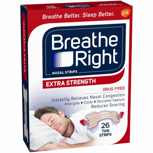 Breathe Right Extra Strength Tan Nasal Strips Perspective: left