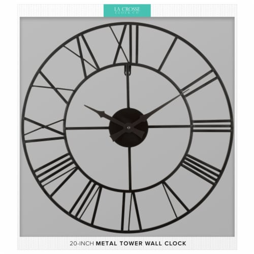 La Crosse Technology Wrought Iron Wall Clock - Black Perspective: left