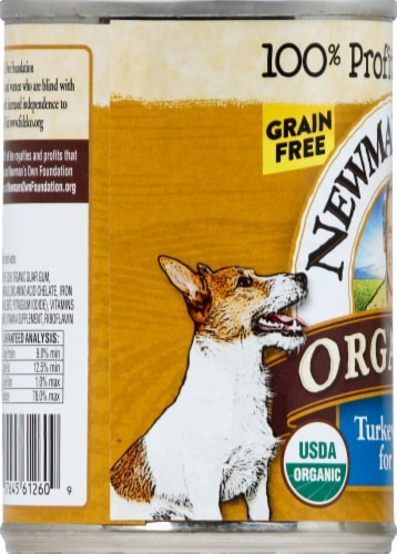 Newman's Own Organic Grain Free Turkey Dinner for Dogs Wet Dog Food Perspective: left