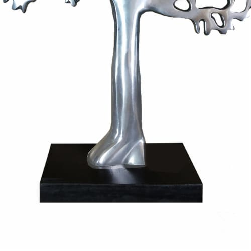 Stylish Aluminum Tree Decor with Block Base, Silver and Black ,Saltoro Sherpi Perspective: left