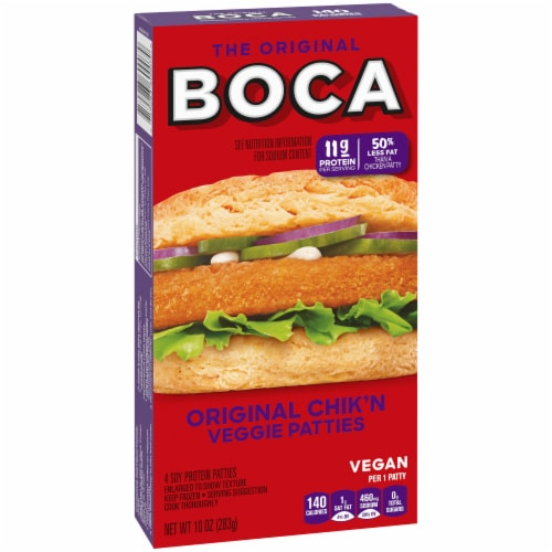 Boca Original Chik'n Vegan Veggie Patties Perspective: left