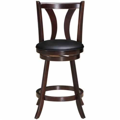 Gymax Set of 2 Swivel Bar stool 24'' Counter Height Leather Padded Dining Kitchen Chair Perspective: left