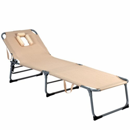 Gymax Folding Chaise Lounge Chair Bed Adjustable Outdoor Patio Beach Camping Recliner Beige Perspective: left
