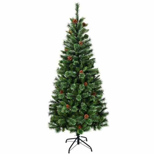 Gymax 7Ft Christmas Tree Artificial Hinged Tree w/ Pine Cones Metal Stand Perspective: left