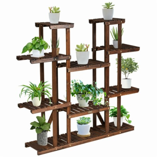Gymax 9 Tier Wood Plant Stand 45'' High Carbonized 17 Potted Flower Shelf Rack Holder Perspective: left