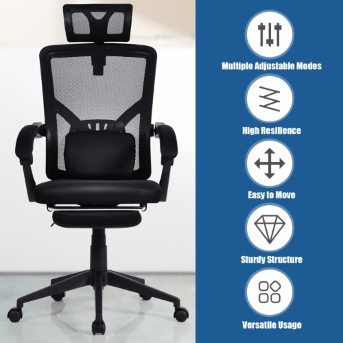 Gymax High Back Office Recliner Chair Adjustable Headrest w/ Footrest & Lumbar Pillow Perspective: left