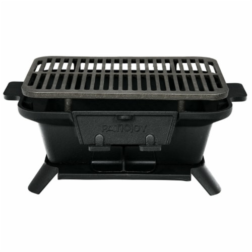 Gymax Heavy Duty Cast Iron Charcoal Grill Tabletop BBQ Grill Stove for Camping Picnic Perspective: left