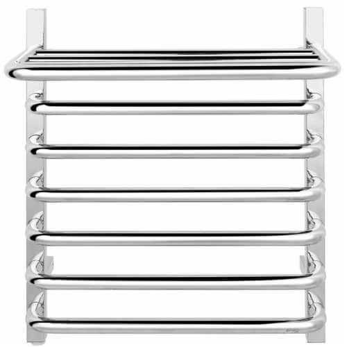 Gymax 10-Bar Wall Mounted Towel Warmer Stainless Steel Plug-in Towel Rack w/ Top Shelf Perspective: left