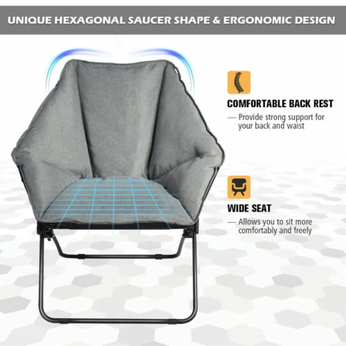 Gymax Folding Saucer Padded Chair Soft Wide Seat w/ Metal Frame Lounge Furniture Perspective: left