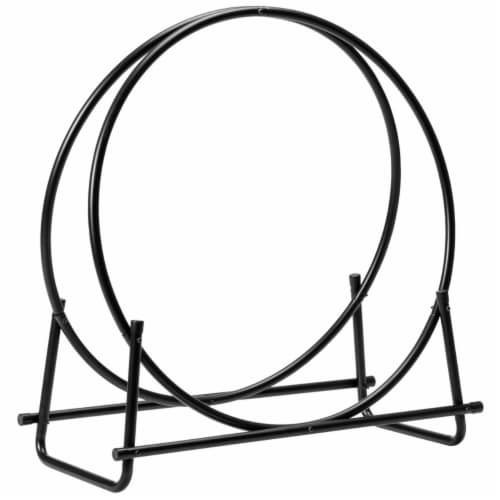 Gymax 30'' Tubular Steel Log Hoop Firewood Storage Rack Holder Round Display Perspective: left
