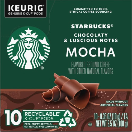 Starbucks Mocha Flavored Ground Coffee K-Cup Pods Perspective: left