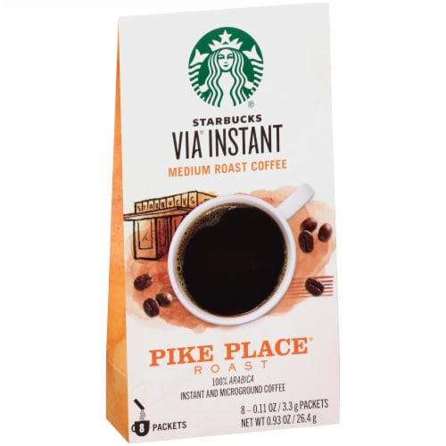 Starbucks Via Instant Pike Place Medium Roast Instant Coffee Packets 8 Count Perspective: left