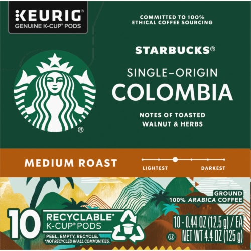 Starbucks Colombia Medium Roast Ground Coffee K-Cup Pods Perspective: left