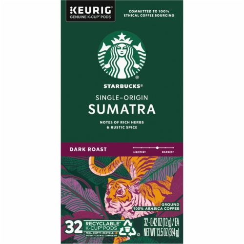 Starbucks Sumatra Dark Roast Ground Coffee K-Cup Pods Perspective: left