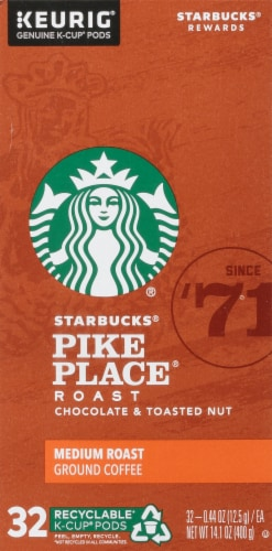 Starbucks Pike Place Medium Roast Ground Coffee K-Cup Pods Perspective: left