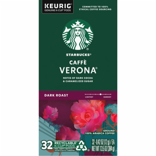 Starbucks Cafe Verona Dark Roast Ground Coffee K-Cup Pods Perspective: left