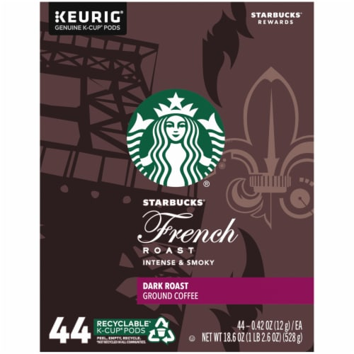 Starbucks French Roast Dark Roast Ground Coffee K-Cup Pods Perspective: left