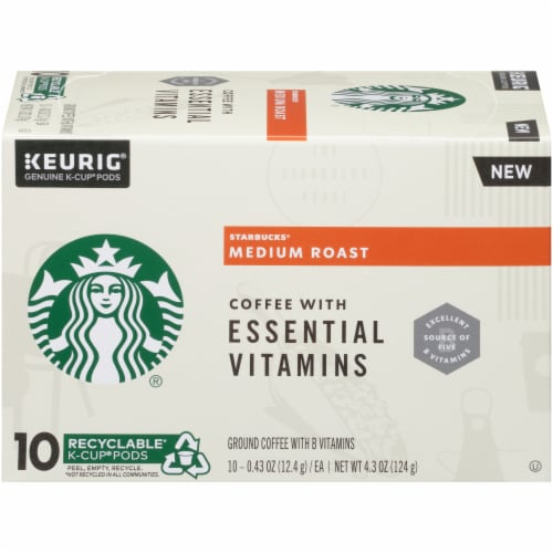 Starbucks Medium Roast Coffee with Essential Vitamins K-Cup Pods Perspective: left