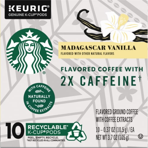 Starbucks Double Caffeine Madagascar Vanilla Flavored Coffee K-Cup Pods Perspective: left