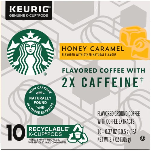 Starbucks Plus Honey Caramel Flavored Coffee K-Cup Pods Perspective: left