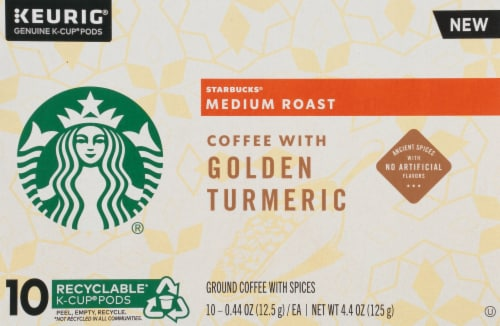 Starbucks Golden Turmeric Medium Roast Ground Coffee K-Cup Pods Perspective: left