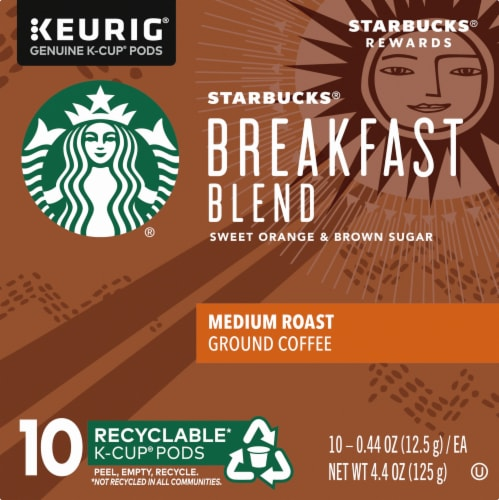 Starbucks Breakfast Blend Medium Roast Ground Coffee K-Cup Pods Perspective: left