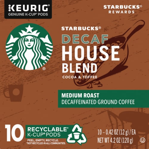 Starbucks Decaf House Blend Medium Roast Coffee K-Cup Pods Perspective: left