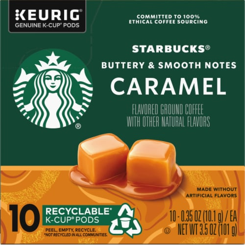 Starbucks Caramel Flavored Ground Coffee K-Cup Pods Perspective: left