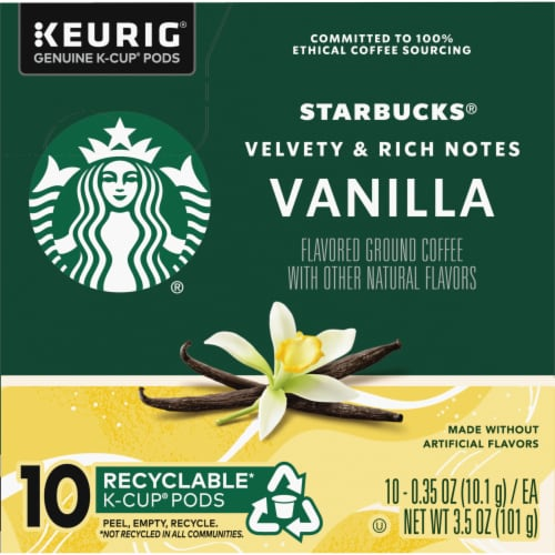 Starbucks Vanilla Flavored Coffee K-Cup Pods Perspective: left