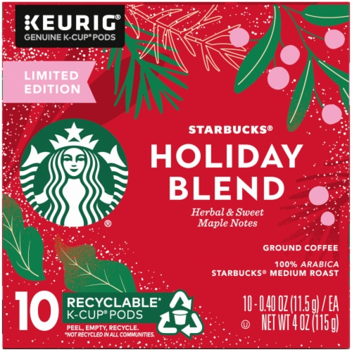 Starbucks Holiday Blend Medium Roast Coffee K-Cup Pods Perspective: left
