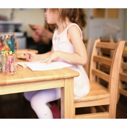 ECR4Kids 16 Inch Natural Hardwood Stable 3 Rung Ladderback Toddler Chair, 2 Pack Perspective: left