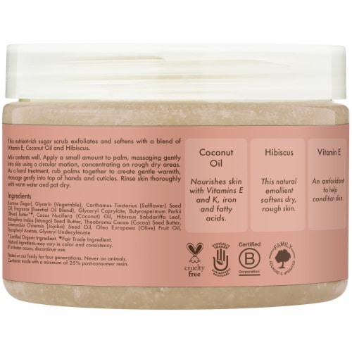 Shea Moisture Coconut & Hibiscus Illuminating Hand & Body Scrub Perspective: left